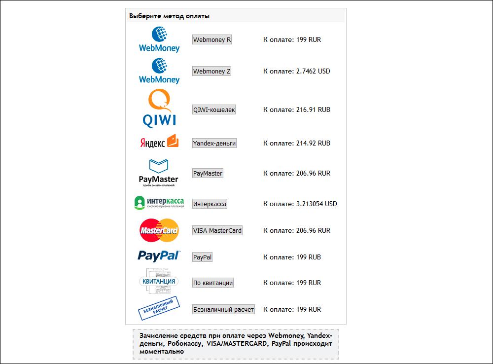Способы оплаты доменов